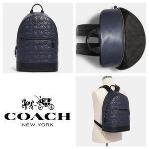 Coach West Slim Backpack With Signature Quilting L